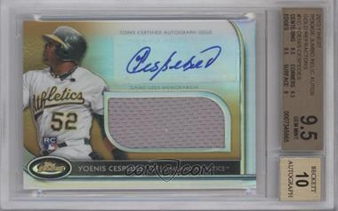 2012 Topps Finest Autographed Jumbo Relic Rookies Gold Refractor #AJR-YC - Yoenis Cespedes /50 [BGS 9.5]