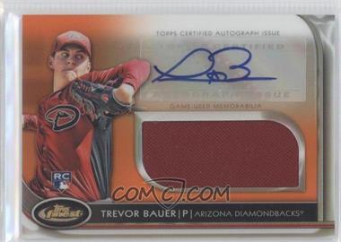 2012 Topps Finest Autographed Jumbo Relic Rookies Orange Refractor #AJR-TB - Trevor Bauer /99