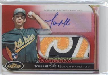 2012 Topps Finest Autographed Jumbo Relic Rookies Red Refractor [Autographed] #AJR-TM - Tom Milone /25