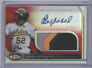 2012 Topps Finest Autographed Jumbo Relic Rookies Red Refractor [Autographed] #AJR-YC - Yoenis Cespedes /25
