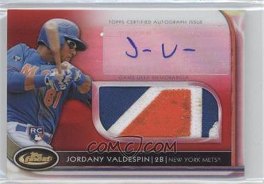 2012 Topps Finest Autographed Jumbo Relic Rookies Red Refractor #AJR-JVN - Jordany Valdespin /25