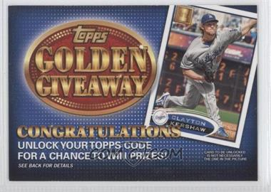 2012 Topps Golden Giveaway Code Cards #GGC-14 - Clayton Kershaw