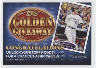 2012 Topps Golden Giveaway Code Cards #GGC-15 - Carlos Gonzalez