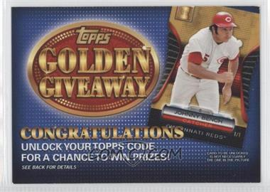 2012 Topps Golden Giveaway Code Cards #GGC-16 - Johnny Bench
