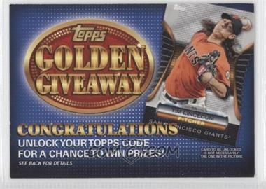 2012 Topps Golden Giveaway Code Cards #GGC-17 - Tim Lincecum