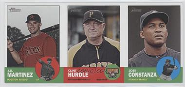 2012 Topps Heritage - Boxloader Ad Panel #JMCHJC - J.D. Martinez, Clint Hurdle, Jose Constanza