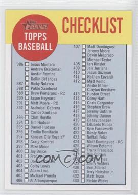 2012 Topps Heritage - Checklist #C5 - Checklist