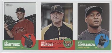 2012 Topps Heritage Boxloader Ad Panel #JMCHJC - J.D. Martinez, Clint Hurdle, Jose Constanza