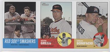 2012 Topps Heritage Boxloader Ad Panel #RSKGEB - David Ortiz, Adrian Gonzalez, Emilio Bonifacio