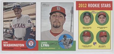 2012 Topps Heritage Boxloader Ad Panel #RWLLRS - Ron Washington, Lance Lynn, Devin Mesoraco