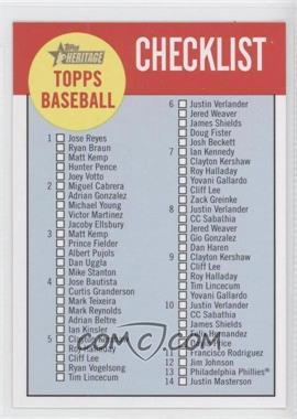 2012 Topps Heritage Checklist #C1 - Checklist