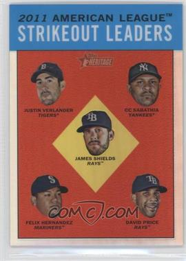 2012 Topps Heritage Chrome Refractor #HP95 - AL Strikeout Leaders (Justin Verlander, C.C. Sabathia, James Shields, Felix Hernandez, David Price) /563