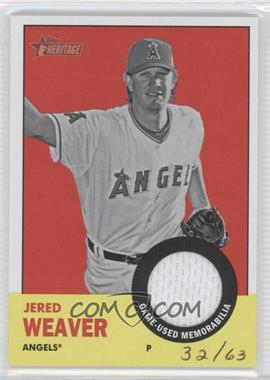 2012 Topps Heritage Clubhouse Collection Relic #ISR-JW - Jered Weaver /63