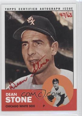 2012 Topps Heritage Real One Certified Autographs Special Edition Red Ink #ROA-DST - Dean Stone /63