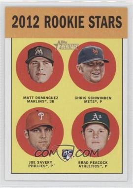 2012 Topps Heritage #362 - Chris Schwinden, Matt Dominguez, Joe Savery, Brad Peacock