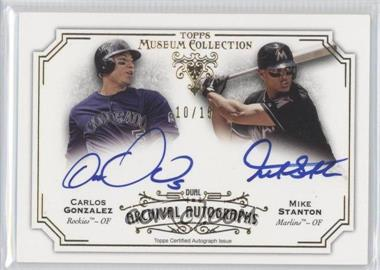 2012 Topps Museum Collection Archival Autographs Dual #DAA-GS - Carlos Gonzales, Mike Stanton /15