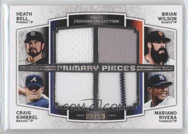 2012 Topps Museum Collection Primary Pieces Four Player Quad Relics #PPFQR-BWKR - Heath Bell, Craig Kimbrel, Mariano Rivera /99