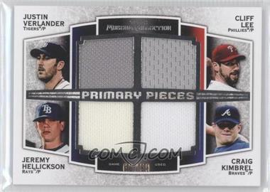 2012 Topps Museum Collection Primary Pieces Four Player Quad Relics #PPFQR-VLHK - Justin Verlander, Cliff Lee, Craig Kimbrel /99