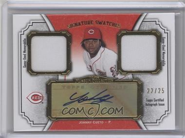 2012 Topps Museum Collection Signature Swatches Autograph Dual Relics Gold #SSADR-JC - Johnny Cueto /25