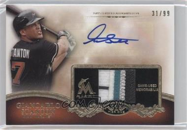 2012 Topps Tier One Top Shelf Autographed Relics [Autographed] #TSAR-GS - Giancarlo Stanton /99
