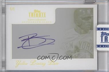 2012 Topps Tribute Autograph Printing Plate Yellow Encased [Autographed] #TA-861 - Brett Gardner /1