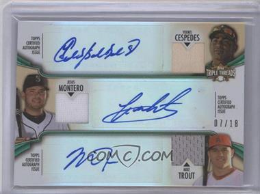 2012 Topps Triple Threads - Combos Autographed Relics - Emerald #TTARC-9 - Yoenis Cespedes, Jesus Montero, Mike Trout /18