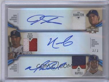 2012 Topps Triple Threads - Combos Autographed Relics - Sapphire #TTARC-2 - Josh Hamilton, Nelson Cruz, Mike Napoli /3
