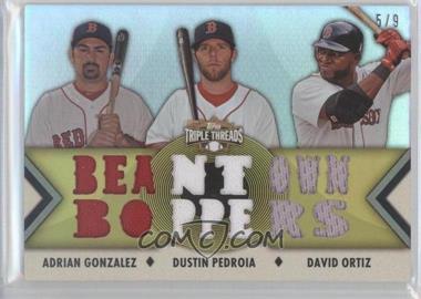 2012 Topps Triple Threads - Relic Combos - Gold #TTRC-37 - Adrian Gonzalez, Dustin Pedroia, David Ortiz /9