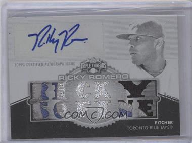 2012 Topps Triple Threads Autograph Relics Printing Plate #TTAR-91 - Ricky Romero /1