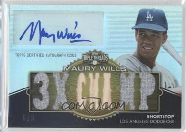 2012 Topps Triple Threads Autographed Relics Gold #TTAR-213 - Maury Wills /9