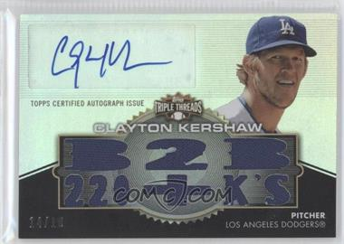 2012 Topps Triple Threads Autographed Relics #TTAR-137 - Clayton Kershaw /18