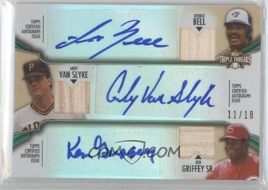 2012 Topps Triple Threads Combos Autographed Relics Emerald #TTARC-6 - George Bell, Andy Van Slyke, Ken Griffey /18