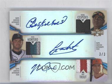 2012 Topps Triple Threads Combos Autographed Relics Sapphire #TTARC-9 - Yoenis Cespedes, Jesus Montero, Mike Trout /3