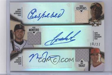 2012 Topps Triple Threads Combos Autographed Relics Sepia #TTARC-9 - Yoenis Cespedes, Jesus Montero, Mike Trout /27
