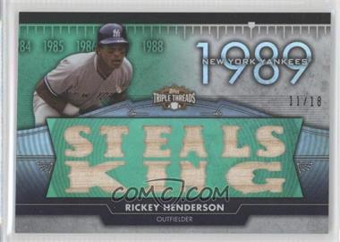 2012 Topps Triple Threads Flashback Relics Emerald #TTFR-12 - Rickey Henderson /18