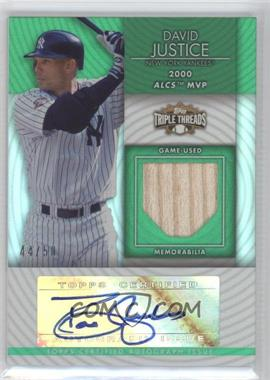 2012 Topps Triple Threads Unity Autograph Relics Emerald #TTUAR-71 - David Justice /50