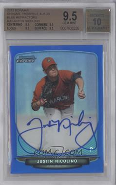 2013 Bowman Chrome Prospects Autographs Blue Refractor #BCP-JN - Justin Nicolino /150 [BGS 9.5]