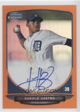 2013 Bowman Chrome Prospects Autographs Orange Refractor #BCA-HC - Harold Castro /25