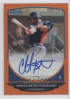 2013 Bowman Chrome Prospects Autographs Orange Refractor #CB - Christian Bethancourt /25