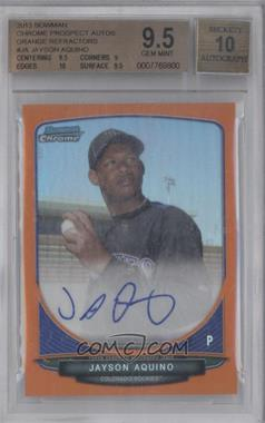2013 Bowman Chrome Prospects Autographs Orange Refractor #JA - Jayson Aquino /25 [BGS 9.5]