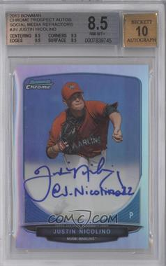 2013 Bowman Chrome Prospects Autographs Social Media Refractor #BCP-JN - Justin Nicolino /10 [BGS 8.5]
