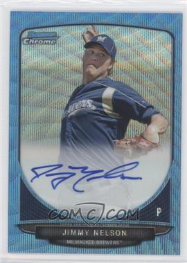 2013 Bowman Chrome Prospects Autographs Wrapper Redemption Blue Wave Refractor #BCA-JN - Jimmy Nelson /50