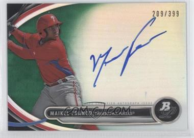 2013 Bowman Platinum Autographed Prospects Green Refractor #BPAP-MF - Maikel Franco /399