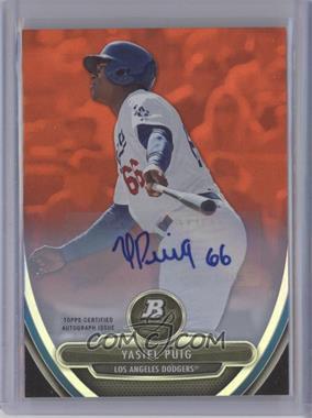 2013 Bowman Platinum Prospects Limited Edition Orange Parallel Autograph [Autographed] #NCA49 - Yasiel Puig