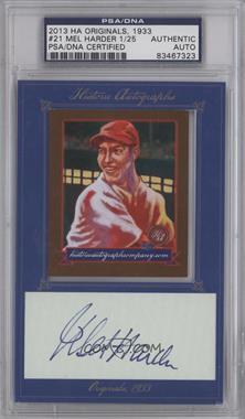 2013 Historic Autographs Originals, 1933 - [Base] - Framed Cut Autographs [Autographed] #21 - Mel Harder /25 [PSA/DNACertifiedAuto]
