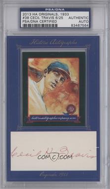 2013 Historic Autographs Originals, 1933 - [Base] - Framed Cut Autographs [Autographed] #38 - Cecil Travis /25 [PSA/DNACertifiedAuto]