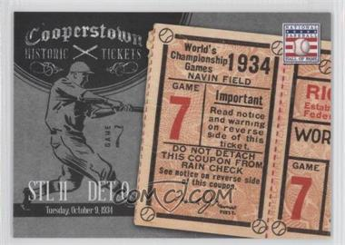 2013 Panini Cooperstown Collection Historic Tickets #10 - 1934 World Series