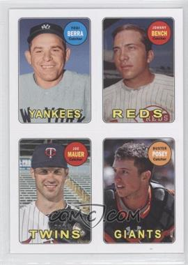 2013 Topps Archives 1969 4-In-1 Stickers #69S-BBMP - Yogi Berra, Buster Posey, Johnny Bench, Joe Mauer