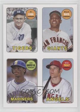 2013 Topps Archives 1969 4-In-1 Stickers #69S-CMGT - Ty Cobb, Willie Mays, Ken Griffey Jr., Mike Trout