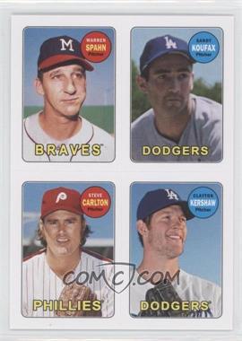 2013 Topps Archives 1969 4-In-1 Stickers #69S-SKCK - Warren Spahn, Clayton Kershaw, Sandy Koufax, Steve Carlton